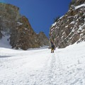 Booting up the Eastern Twin Couloir.- Deseret Peak: Temple + Twin Couloirs