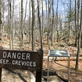 After admiring the view and the hawks, return to the trail and head to Wolf Rock. This sign will greet you as you arrive. And it is no joke.- Wolf Rock + Chimney Rock Loop