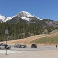A large parking area at Tibble Fork Reservoir.- Tibble Fork Reservoir