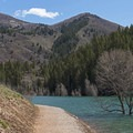 The trail around the Tibble Fork Reservoir.- Tibble Fork Reservoir