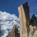 Arete des Cosmiques with Mont Blanc du Tacul and Mont Blanc in the background.- Arête des Cosmiques