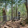 Fencing keeps hikers on trail and prevents falls into the gorge.- Chesterfield Gorge Natural Area