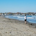 Walking the shoreline at Jenness State Beach.- Jenness State Beach
