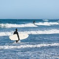 Surfing at Jenness State Beach.- Jenness State Beach