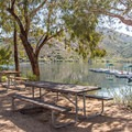 There are picnic tables by the trailhead.- Lake Poway Trail