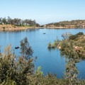 View of Lake Poway from the trail.- Lake Poway Trail