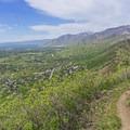 Near the crest. Looking north toward Salt Lake City.- The Sawmill Trail