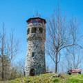 Stone tower on the summit of Mount Prospect.- Weeks State Park