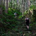 The last day from Koguchi to Kumano Naichi Taisha is quite a trek up and down, and then up and down again over numerous cobblestone steps that are slick with moss. It is beautiful, but it is also treacherous on rainy days.- The Kumano Kodo: Nakahechi Route