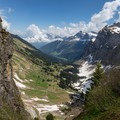 Once you reach the top of the Bockmattlipass, you can see into the valley to the east, including Obersee and Brünellistock.- Bockmattlistock