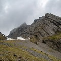 The impressive rock formations on Schiberg can be seen to the right as you ascend the Bockmattlipass.- Bockmattlistock