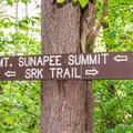 Sign along the trail. - Mount Sunapee
