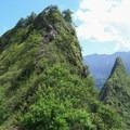 Ascending the second peak.- Olomana Three Peaks Hike
