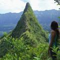 Gazing on the third peak from the second peak.- Olomana Three Peaks Hike