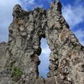Rock keyhole as you ascend the third peak.- Olomana Three Peaks Hike