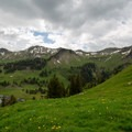 The view east toward Klingenstock and Huser Stock from below Charenstöckli.- Fronalpstock + Klingenstock via Stoos