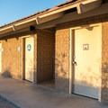 A restroom and shower facility in Borrego Palm Canyon Campground.- Borrego Palm Canyon Campground