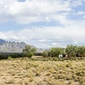 RV section of the Coronado Campground with the Sandia Mountains looming.- Coronado Campground