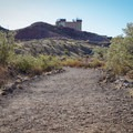 The trail begins in the direction of the Hoover Dam Lodge.- Historic Railroad Trail