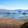 Lake Mead's was created to develop water and power infrastructure. The lake today reflects this activity.- Historic Railroad Trail