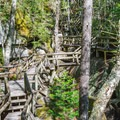 Wooden boardwalk leads through the gorge.- Lost River Gorge + Boulder Caves
