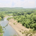 Overlook of the Buffalo River. This is not a designated lookout and hikers should be aware of sudden drop-offs. - River View Trail