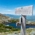 Looking back at Lakes of the Clouds Hut.- Lakes of the Clouds Hut + Mount Washington