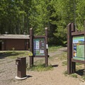 Bathrooms, maps and info.- Silver Lake Trail