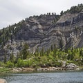 The limestone layers that are common in American Fork Canyon.- Silver Lake Trail