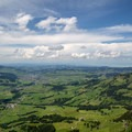 From the Hoher Kasten summit looking north you can see the rolling hills of the Appenzell district as well as the Bodensee (and Germany behind it) on a clear day.- Alpstein Geological Path