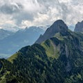The ridge looking west from Hoher Kasten. The Geological Trail runs along this ridge.- Alpstein Geological Path