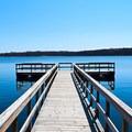 Walking onto the pier.- Beers Lake