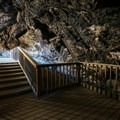 The wooden deck inside Lovelock Cave.- Lovelock Cave