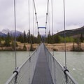 The trail crosses the Saskatchewan River via an impressive suspension bridge early on in the hike. - Siffleur Falls