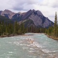 Several prominent peaks above the Siffleur River.- Siffleur Falls