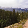 Some of the only elevation gain in the trail offers views of the peaks to the north.- Siffleur Falls