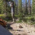 Taking a short break on the way back down. - Shingle Creek Trail