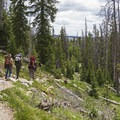 Backpackers on their way back from Long Lake.- Island Lake Hike