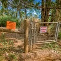 At the top, cross through this pest gate. Remember to close it behind you.- Kealia Trail