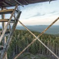 The cabin atop the tower is closed, but there is still a fantastic view to be had.- Pillsbury Mountain Fire Tower