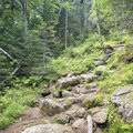 A rocky path up to the summit.- Snowy Mountain Fire Tower