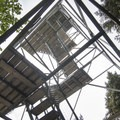 Looking up the layers of platforms on the fire tower.- Snowy Mountain Fire Tower