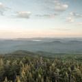 View to the south over Sacandaga Lake and Lake Pleasant.- Pillsbury Mountain Fire Tower