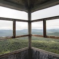 Looking out of the fire tower cabin.- Owl's Head Fire Tower