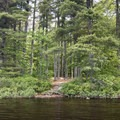 A backcountry camping area on Floodwood Pond.- Rollins Pond Loop