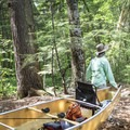 A portage from Copperas Pond to Whey Pond.- Rollins Pond Loop