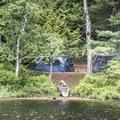A campsite at Rollins Pond Campground.- Rollins Pond Loop