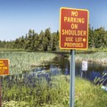 The boat launch area at the south end of the Deer River Flow.- Deer River Flow