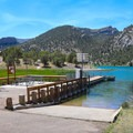 Cave Lake boat launch is one of the features of Cave Lake State Park that is a quick walk from the campground.- Lake View Campground