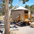 Site #34 has a yurt that can be reserved.- Lake View Campground